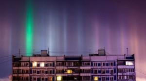 Над Москвой в Рождественскую ночь появились столбы света